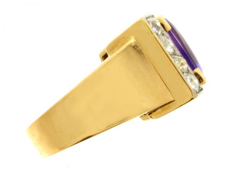 side view Amethyst and diamond cocktail ring, French, circa 1945.