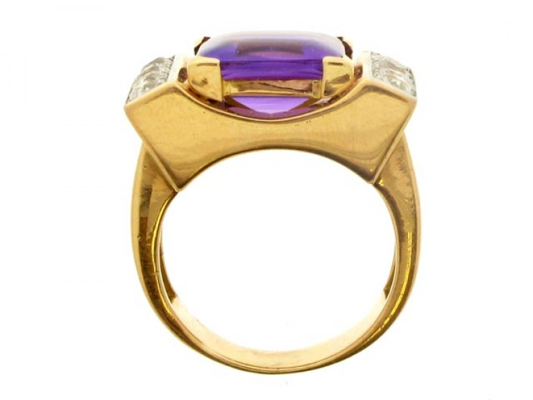 back view Amethyst and diamond cocktail ring, French, circa 1945.