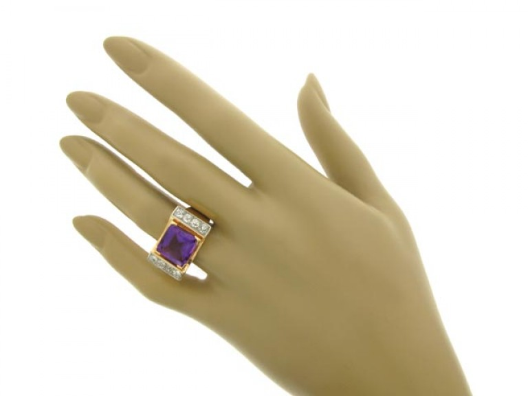 hand view Amethyst and diamond cocktail ring, French, circa 1945.