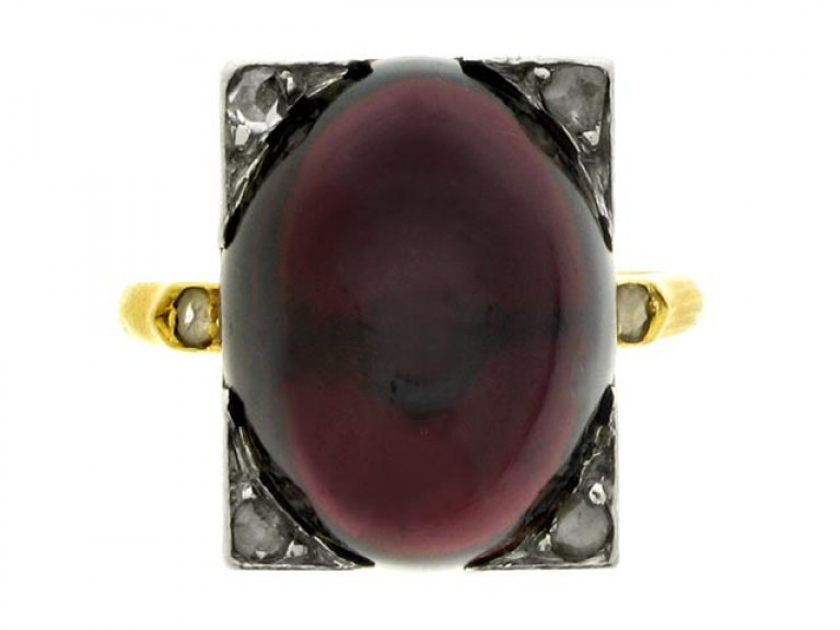 front view Antique cabochon garnet and diamond ring, French, circa 1880.