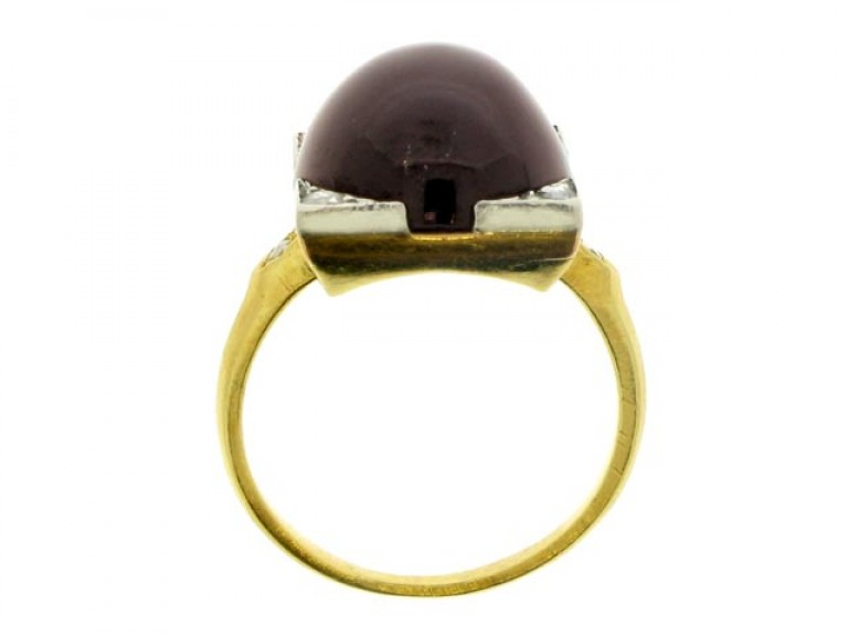 back view Antique cabochon garnet and diamond ring, French, circa 1880.