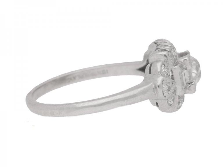 side view Diamond cluster ring, American, circa 1950.