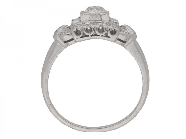 back view Diamond cluster ring, American, circa 1950.
