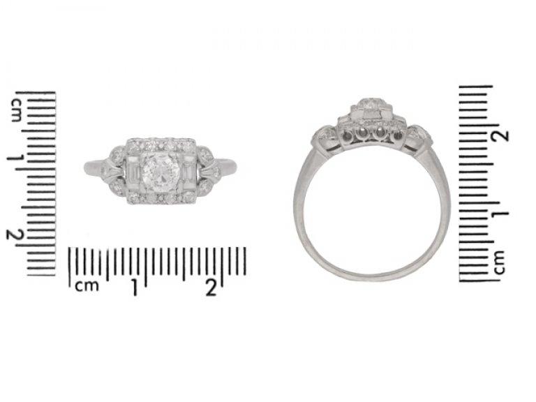 size view Diamond cluster ring, American, circa 1950.