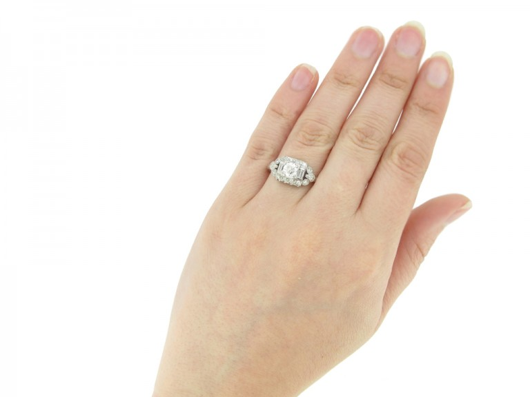 hand view Diamond cluster ring, American, circa 1950.