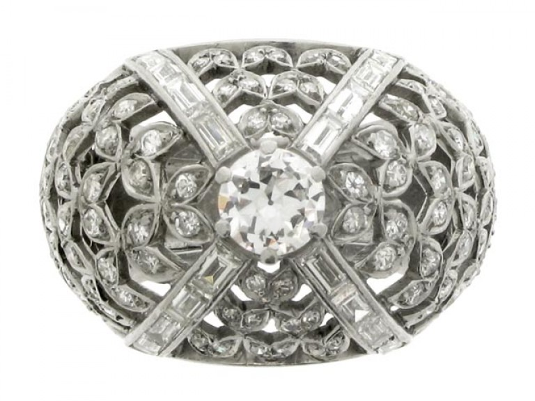 front view Diamond set cocktail ring, French, circa 1935.