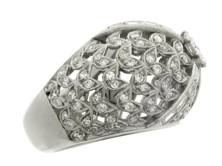 side veiw Diamond set cocktail ring, French, circa 1935.