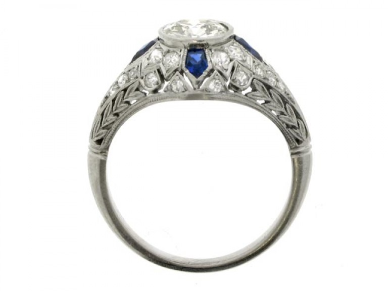 back view Diamond and calibré cut sapphire ring, circa 1920.