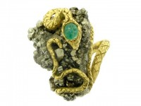 front veiw vintage Emerald pyrite snake ring hatton garden berganza