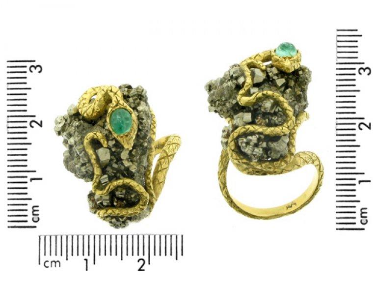 vintage Emerald pyrite snake ring hatton garden berganza