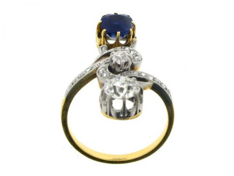 back view Art Nouveau sapphire and diamond ring, circa 1900.