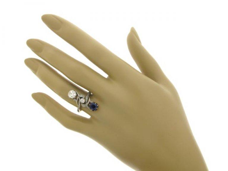 hand view Art Nouveau sapphire and diamond ring, circa 1900.