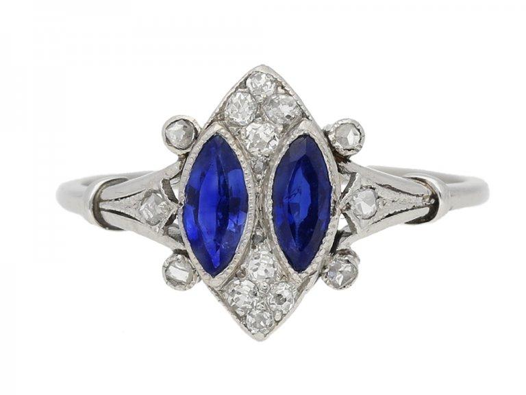 Marquise sapphire diamond ring berganza hatton garden