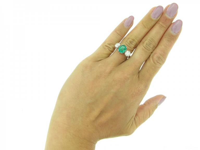 Colombian emerald diamond ring, berganza hatton garden