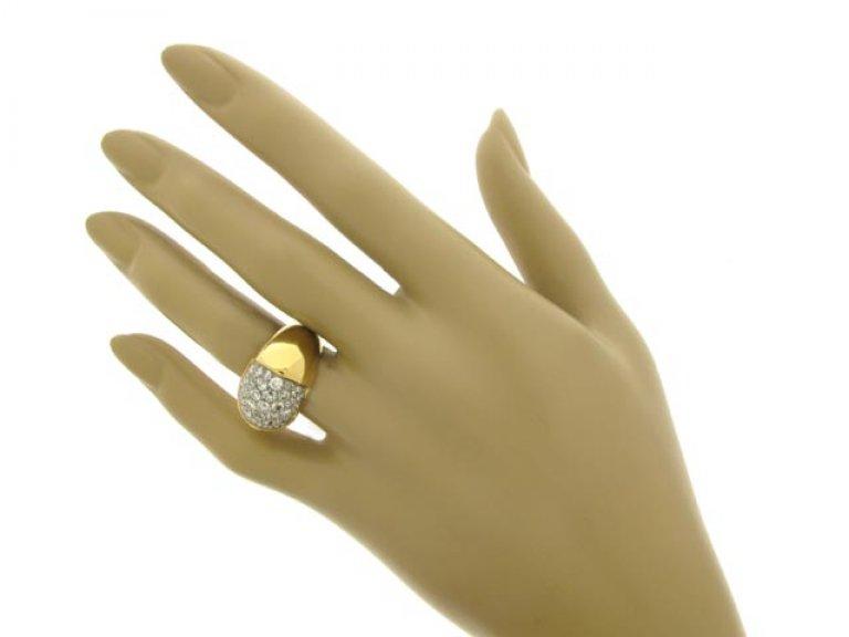 hand view Diamond cocktail ring, circa 1945.