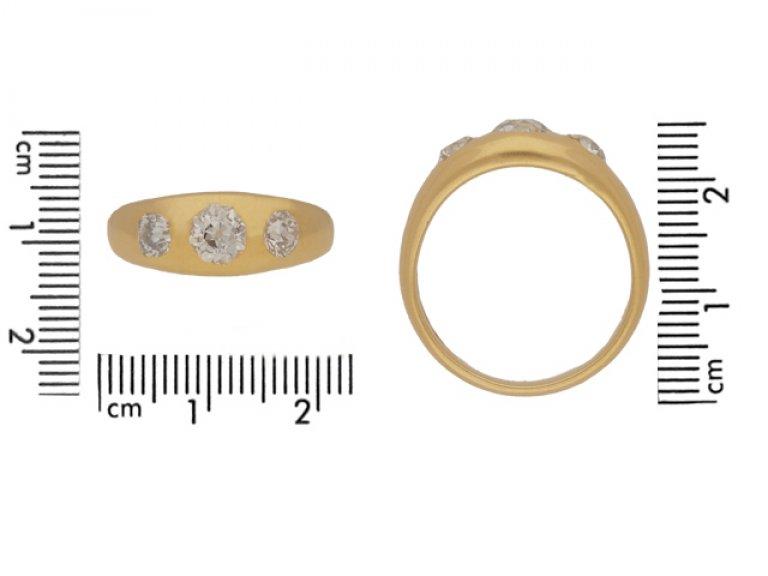 size view Antique three stone diamond ring, circa 1900.