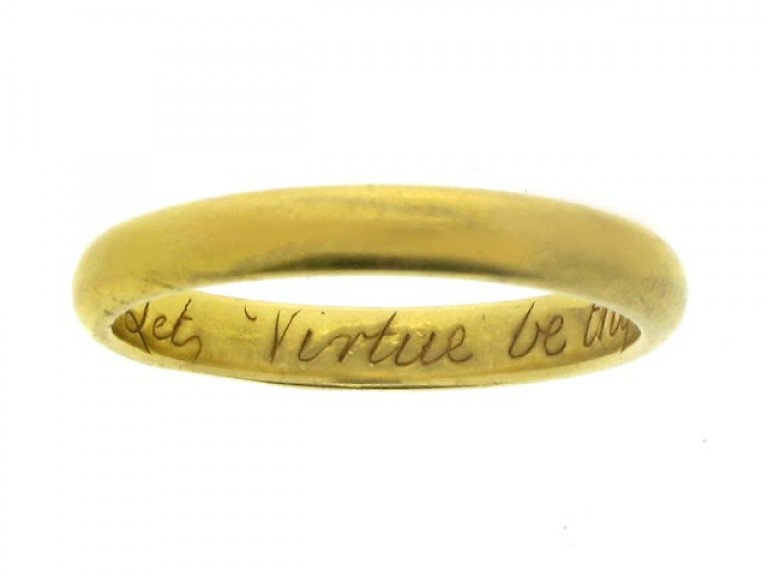 Gold posy ring by John Harvey, London, 'Let Virtue be thy Guide', circa 1750.