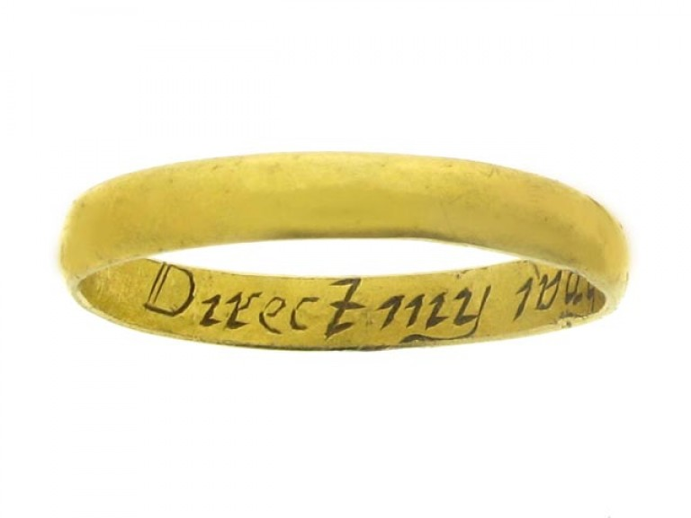 Gold posy ring, 'Direct my wayes Lord all my dayes', late 18th century.
