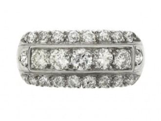 front view Three row diamond ring, American, circa 1950.