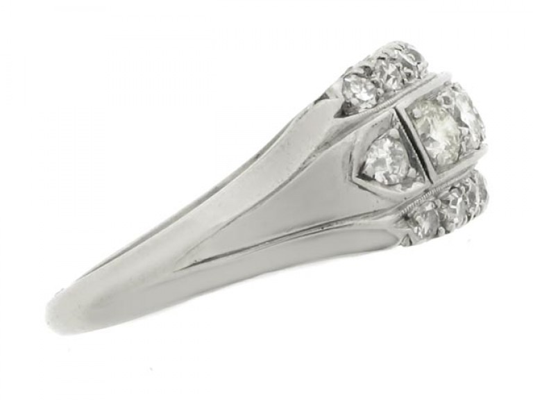 side view Three row diamond ring, American, circa 1950.