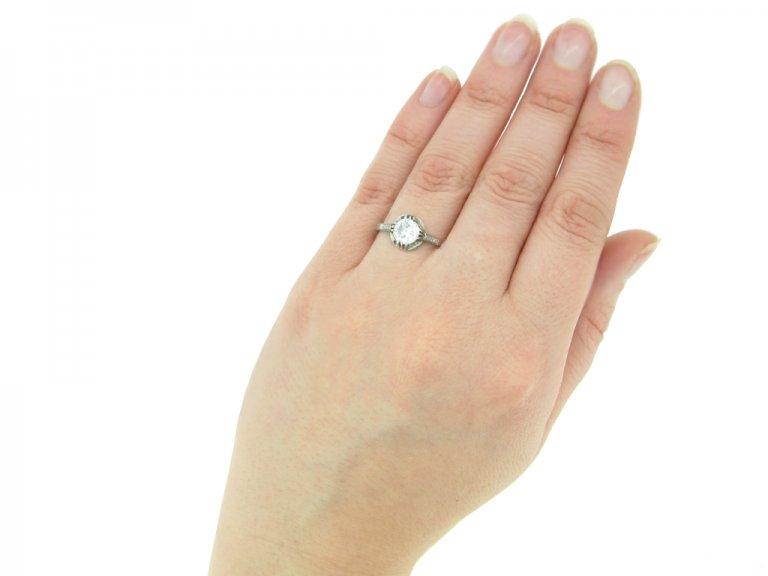 hand view vintage diamond engagement ring berganza hatton garden