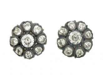 front view antique diamond stud earrings berganza hatton garden
