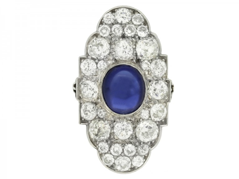 front view Cabochon Burmese sapphire and old cut diamond cluster ring