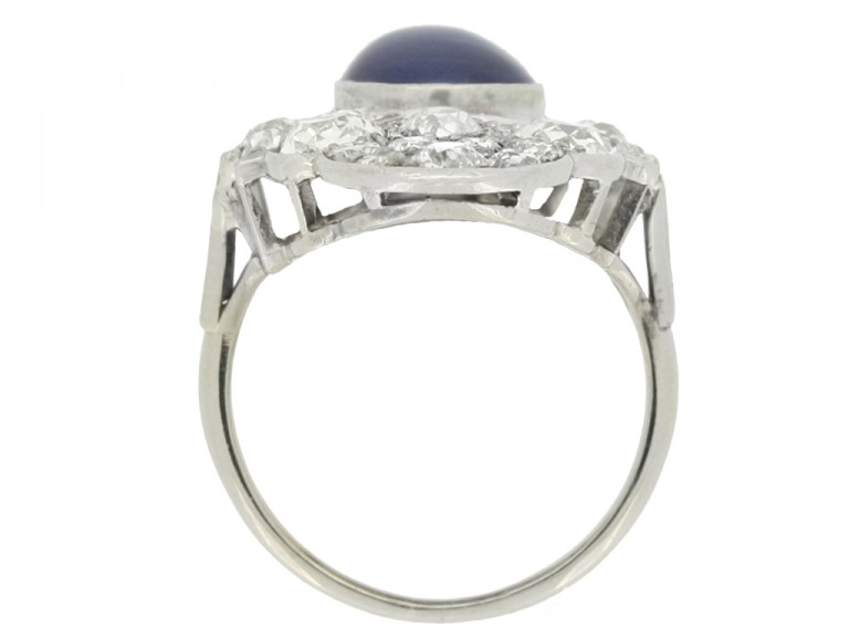 back view Cabochon Burmese sapphire and old cut diamond cluster ring