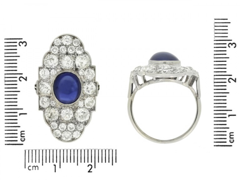 size view Cabochon Burmese sapphire and old cut diamond cluster ring
