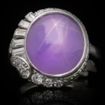 Purple star sapphire and diamond ring by J. Milhening Inc., circa 1935.