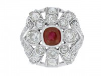 front view Ruby and diamond cluster ring, circa 1920.