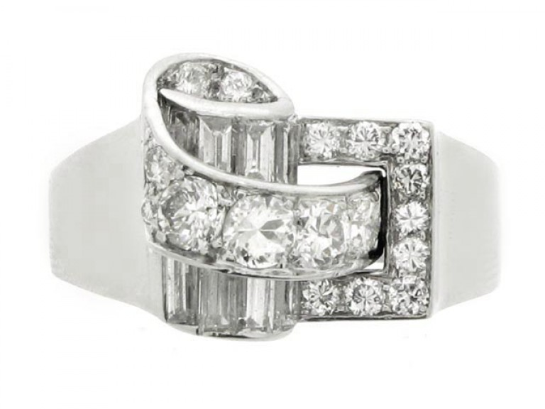 front view Diamond cocktail ring by Drayson, English, circa 1945.