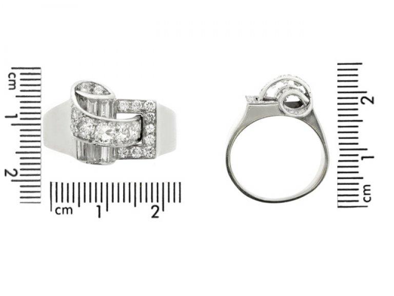 Diamond cocktail ring by Drayson, English, circa 1945.