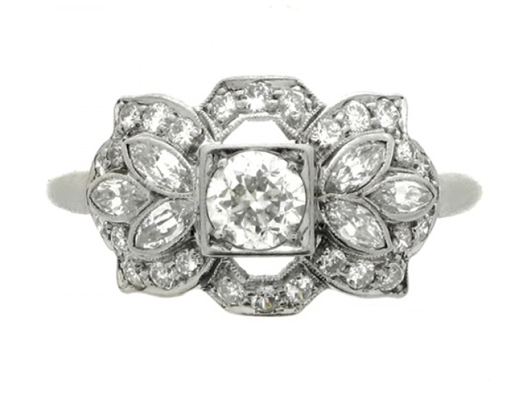 front view Ornate diamond ring, American, circa 1950.