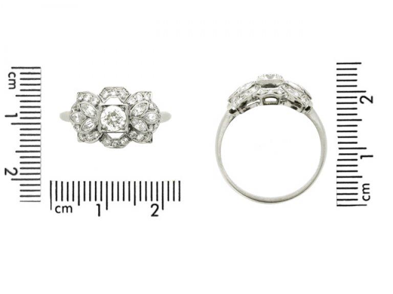 Ornate diamond ring, American, circa 1950.