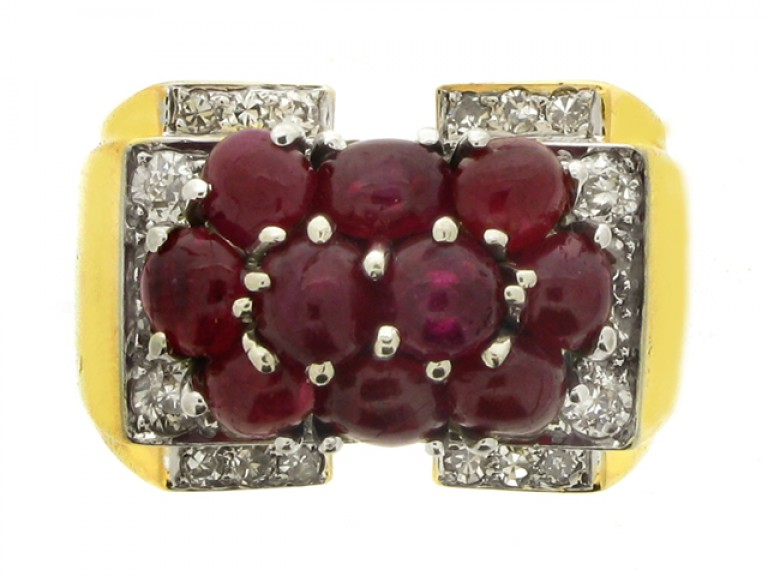 fornt view Trabert & Hoeffer with Mauboussin ruby and diamond cocktail ring, American, circa 1939.