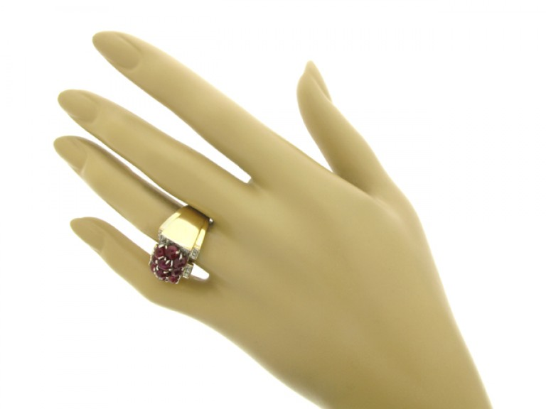 hand view Trabert & Hoeffer with Mauboussin ruby and diamond cocktail ring, American, circa 1939.