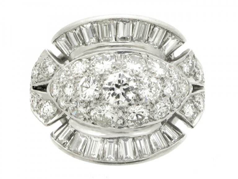 front view Diamond cocktail ring, American, circa 1950.