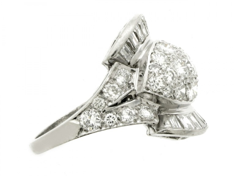 side view Diamond cocktail ring, American, circa 1950.