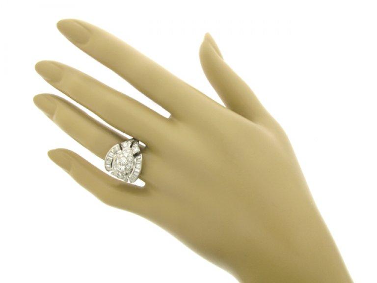 hand view Diamond cocktail ring, American, circa 1950.