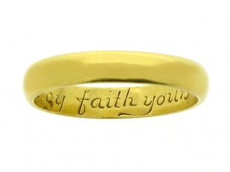Gold posy ring, 'Bound by faith yours til death', English, circa 18th century.