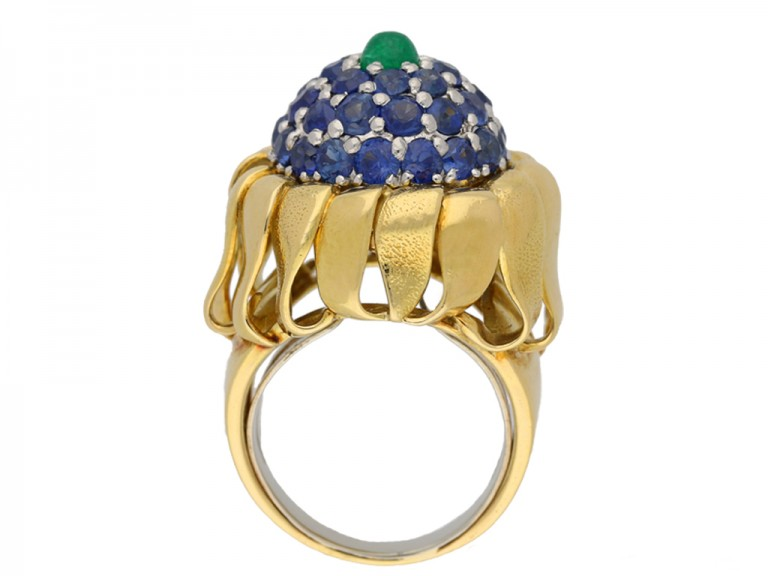 back view Tiffany emerald sapphire ring berganza hatton garden