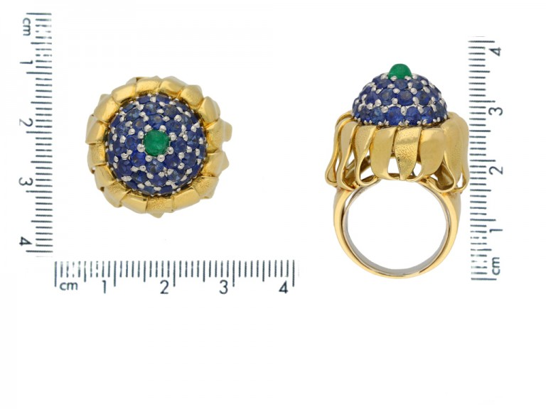 size view Tiffany emerald sapphire ring berganza hatton garden