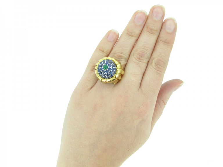 hand view Tiffany emerald sapphire ring berganza hatton garden