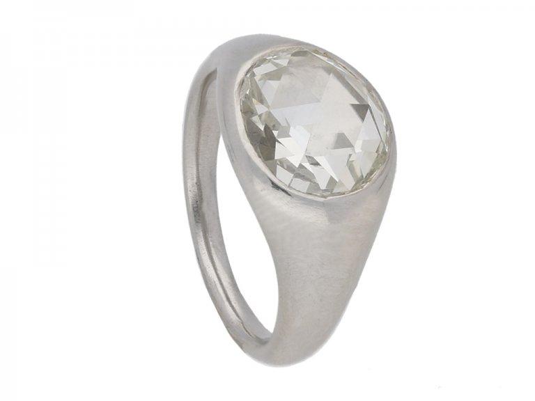 side view vintage diamond engagement ring hatton garden berganza