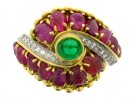 front view Marchak cabochon emerald, carved ruby and diamond ring, French, circa 1950.