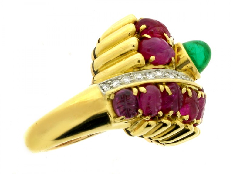 side view Marchak cabochon emerald, carved ruby and diamond ring, French, circa 1950.