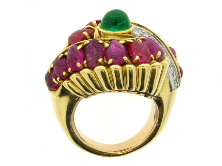 back view Marchak cabochon emerald, carved ruby and diamond ring, French, circa 1950.