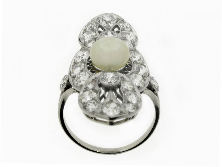 back view Belle Époque pearl and diamond ring, circa 1905.