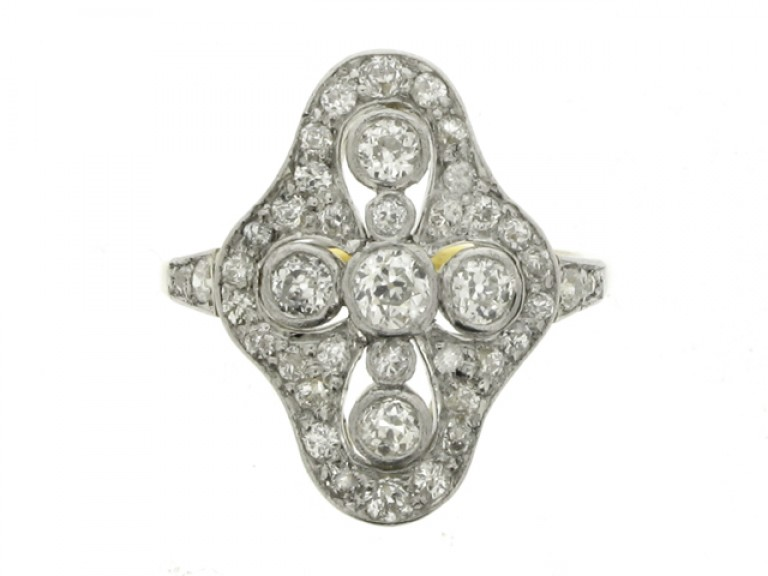 front view Edwardian quatrefoil diamond cluster ring, circa 1910.